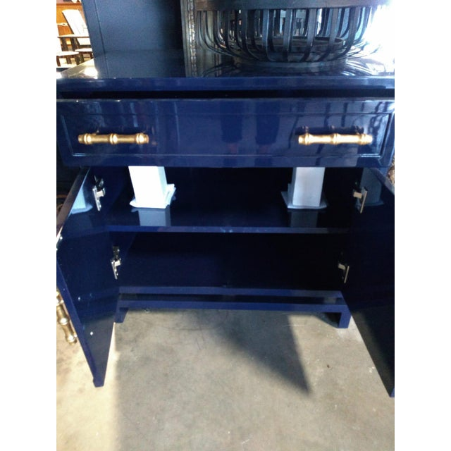 Paint Worlds Away Navy Lacquer Nightstand For Sale - Image 7 of 7