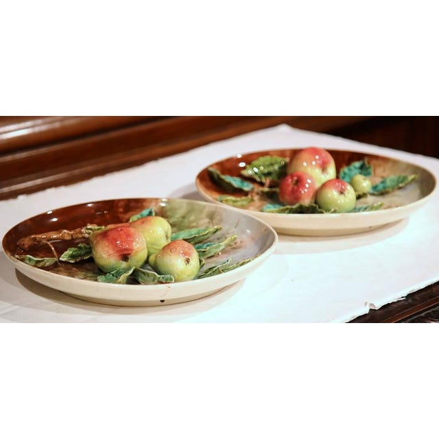 French 19th Century French Hand-Painted Barbotine Plates With Apples and Pears - a Pair For Sale - Image 3 of 10