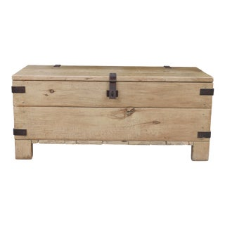1970's Vintage Iron Storage Trunk For Sale