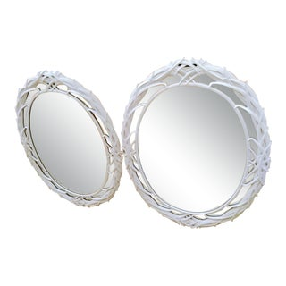 A Pair White Gloss Vintage Whispy Thin Palm Fronds Serge Roche Style Oval Wall Mirrors For Sale