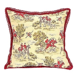 17th Century Pillow With Burgundy Velvet Trim For Sale