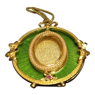 Faberge Gold, Green & Purple Gems Mini-Picture Frame