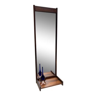 Mid Century Modern Teak Entry Mirror With Butler Shelf For Sale