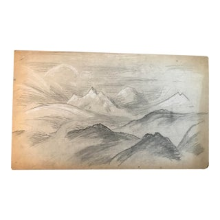 1930s Modern Drawing of Rocky Mountain Landscape by Eliot Clark For Sale