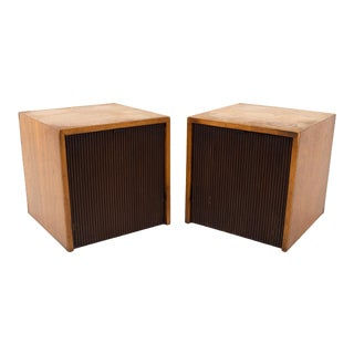 Lane Altavista Mid Century Walnut Brutalilst Nightstands - Pair For Sale