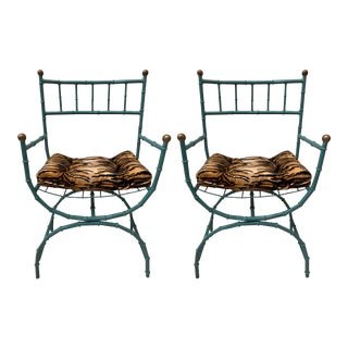 Pair of Campaign Style Chairs For Sale