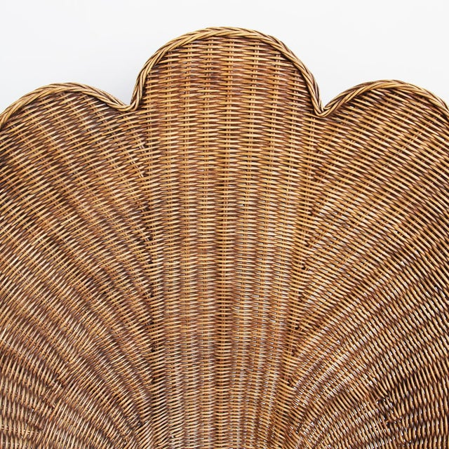 Contemporary Rattan Antiqued Shell Chair For Sale - Image 3 of 4