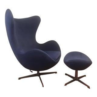 1980s Vintage Arne Jacobsen for Fritz Hansen Egg Chair & Ottoman For Sale