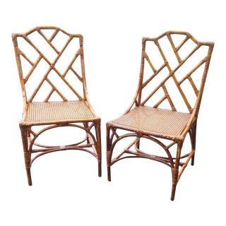 Vintage Italian Rattan Chippendale Chairs