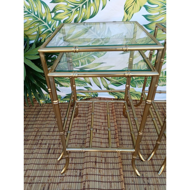 Gold Palm Beach Regency Gold Faux Bamboo Square Set of 4 Glass and Metal Nesting Tables For Sale - Image 8 of 10