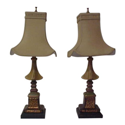 Asian Style With Faux Leopard Trim Table Lamps - a Pair - Image 1 of 8