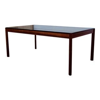 Vintage Exotic Jacaranda and Smoke Glass Coffee Table For Sale