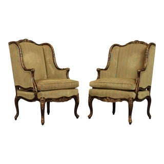 Randall Jy Singer For EJ Victor French Louis XV Style Pair Bergere Chairs For Sale
