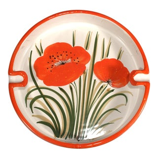 Italian Mid Century Modern Orange Poppy Flower Art Pottery Ashtray For Sale