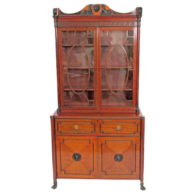 Period English Regency Secretary Cabinet With Ebonized Trim For Sale - Image 13 of 13