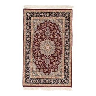 Pasargad Persian Isfahan Korker Wool & Silk Highlighted Rug - 3′5″ × 5′4″ For Sale
