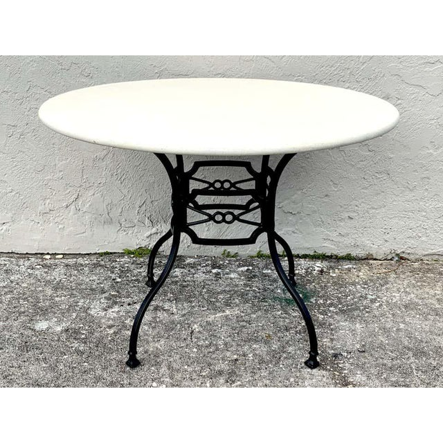 Neoclassical Neoclassical Horse-Bit & Travertine Garden/Patio Table Provenance Celine Dion For Sale - Image 3 of 8