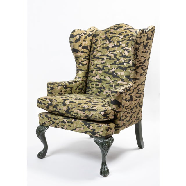 Wood Wing Chair in Fortuny Fabric For Sale - Image 7 of 7