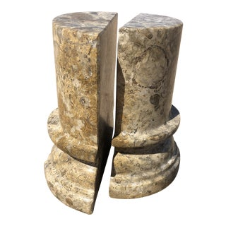Vintage Stone Pillar Bookends - A Pair For Sale
