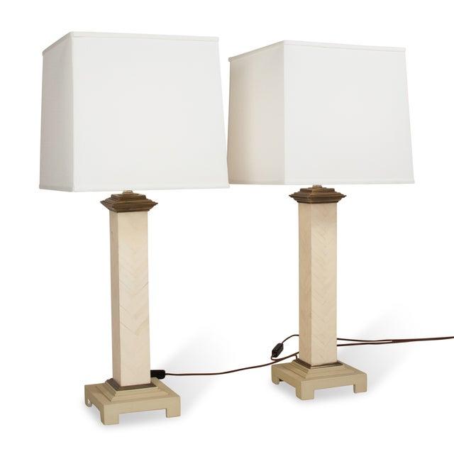 Maitland-Smith Chevron Column Lamps - A Pair - Image 8 of 8