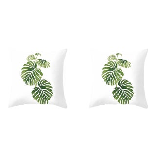 Tropical Leaf Pillows - A Pair For Sale