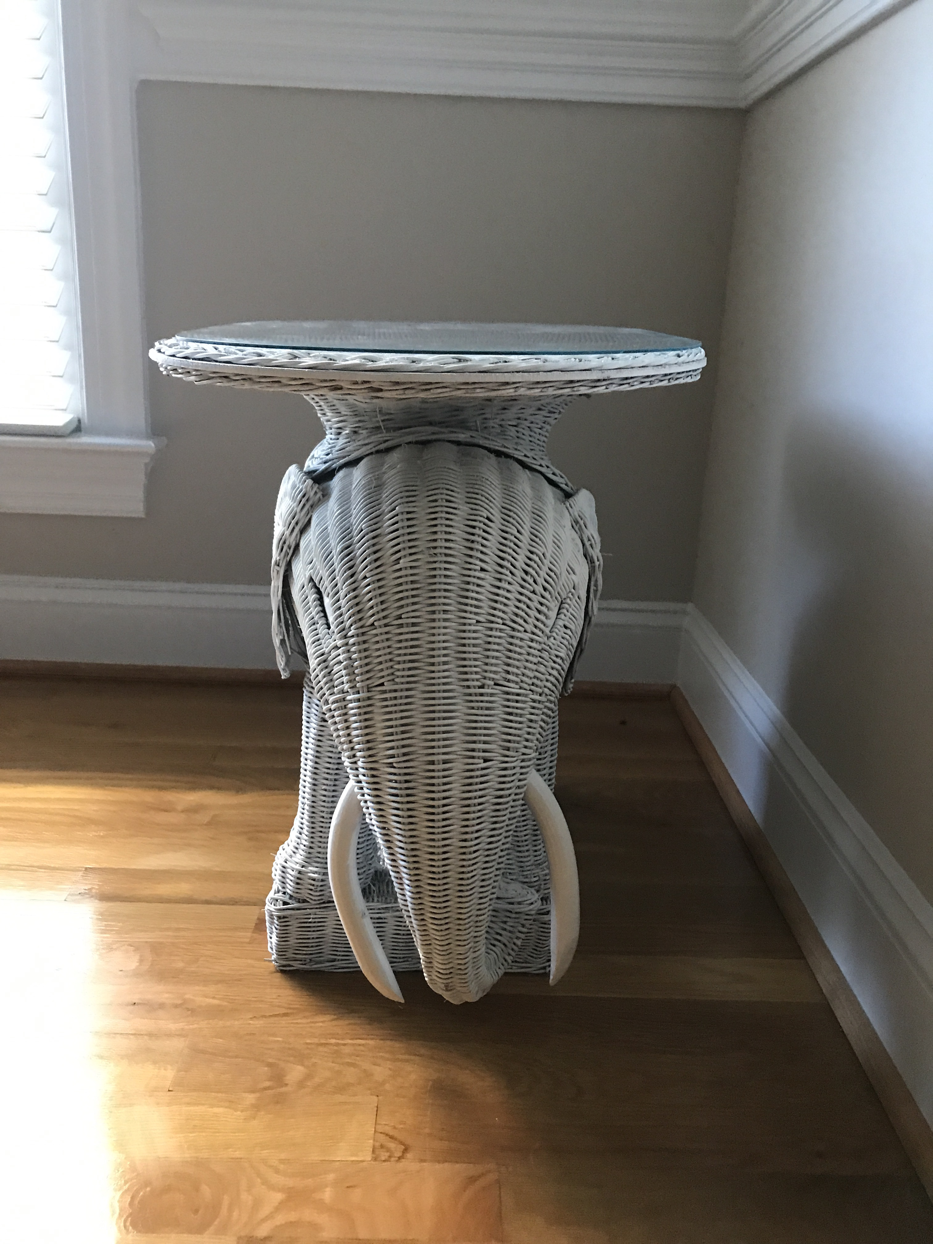Vintage Wicker Elephant Side Table   Image 3 Of 5