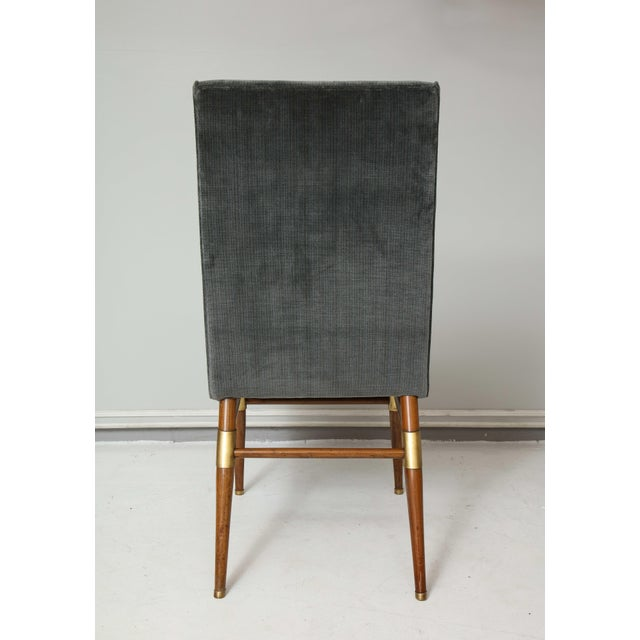 Set of Six Italian Mid-Century Modern Dining Chairs, Recently Upholstered For Sale - Image 10 of 11