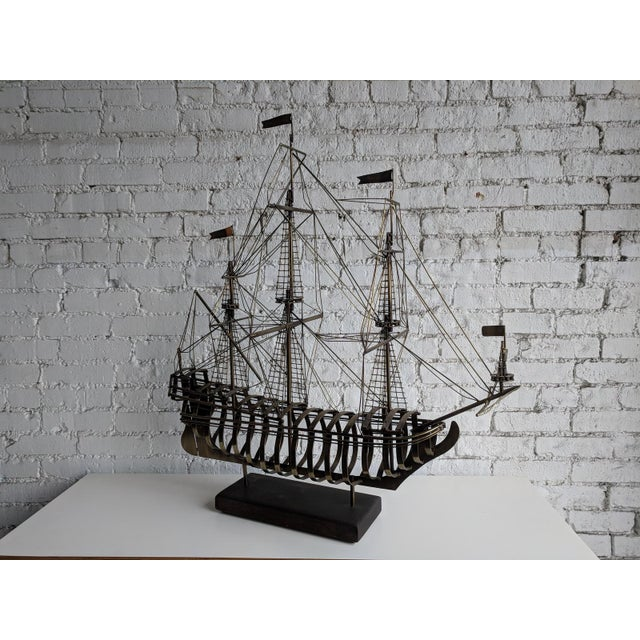 1980s Vintage Mid Century Brass Ship With Wood Base by Curtis Jere For Sale - Image 5 of 7