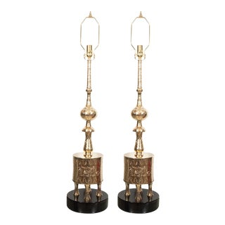 """Vintage Etched """"Ottoman"""" Style Table Lamps - a Pair For Sale"""