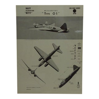 """Vintage WWii Aircraft Recognition Poster """"Mitsubishi - Type 01"""", Japan, 1943"""