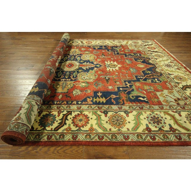 "Red & Ivory Heriz Serapi Knotted Rug - 9'10"" x 14' - Image 10 of 10"