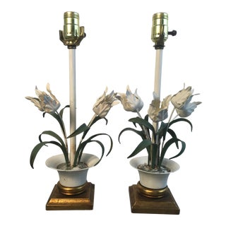 Vintage White Toile Lamps - a Pair For Sale
