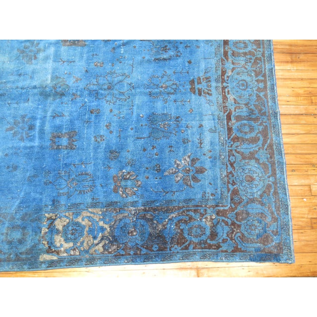 "Traditional Cobalt Blue Overdyed Vintage Rug - 6'4"" x 10'6"" For Sale - Image 3 of 10"