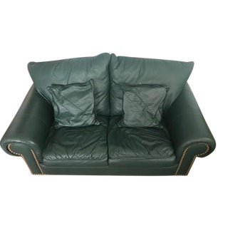 Hunter Green Leather Loveseat For Sale