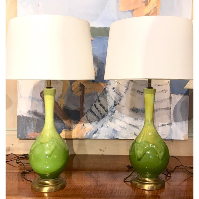 Mid-Century Green Glazed Lamps - A Pair - Image 3 of 10