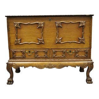 19th Century Georgian George II Style Mahogany Paw Foot Coffer Blanket Chest For Sale
