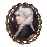 Image of 19th C. Miniature Portrait of a Nun on Porcelain W/ Brooch Frame For Sale