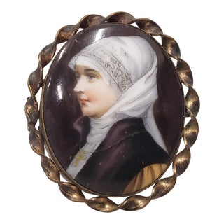 19th C. Miniature Portrait of a Nun on Porcelain W/ Brooch Frame For Sale