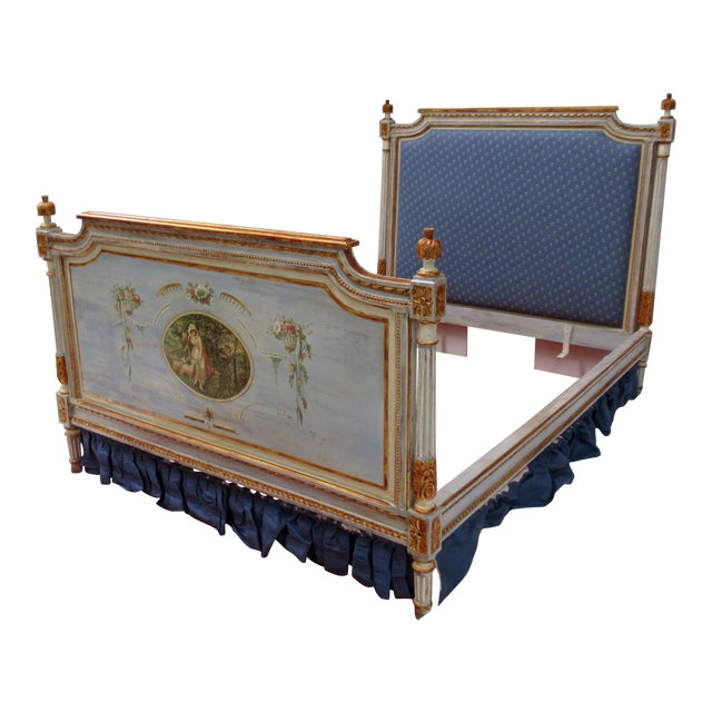 Vintage 19th. Century French Napoleonic Parcel Gilt Painted Full Size Bedframe For Sale