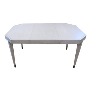 Antiqued Contemporary White Game/Dining Table With Extension Leaf For Sale