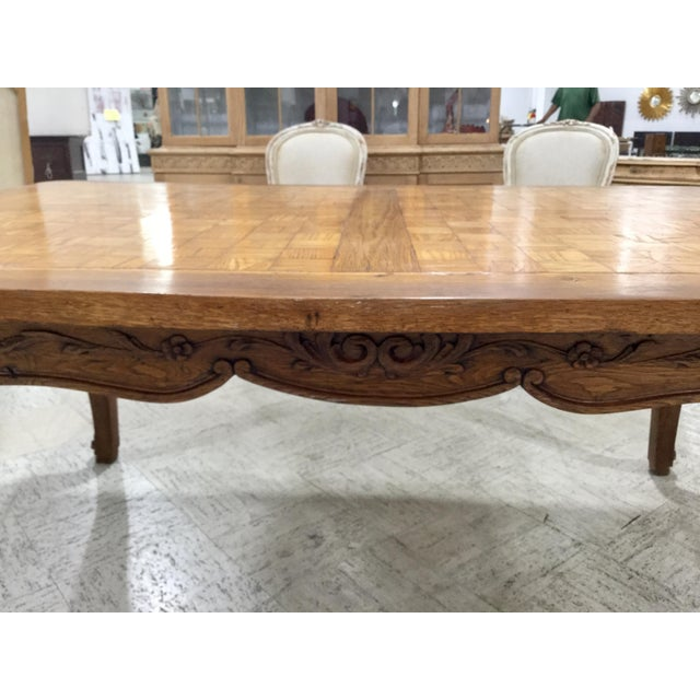 European country french or louis xv style parquetry inlaid custom dining table. Carved escargot feet an wonderful warm...