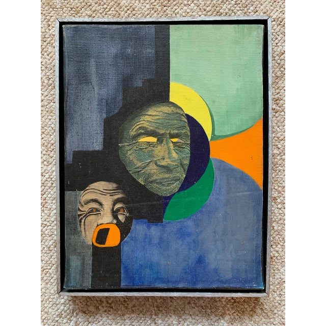 Vintage Mixed Media Abstract Collage Painting Wall Hanging Mid Century Modern For Sale - Image 9 of 9
