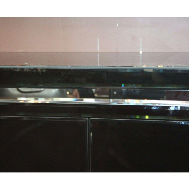 Venfield Custom Black Mirrored Cantalever Credenza For Sale - Image 4 of 6