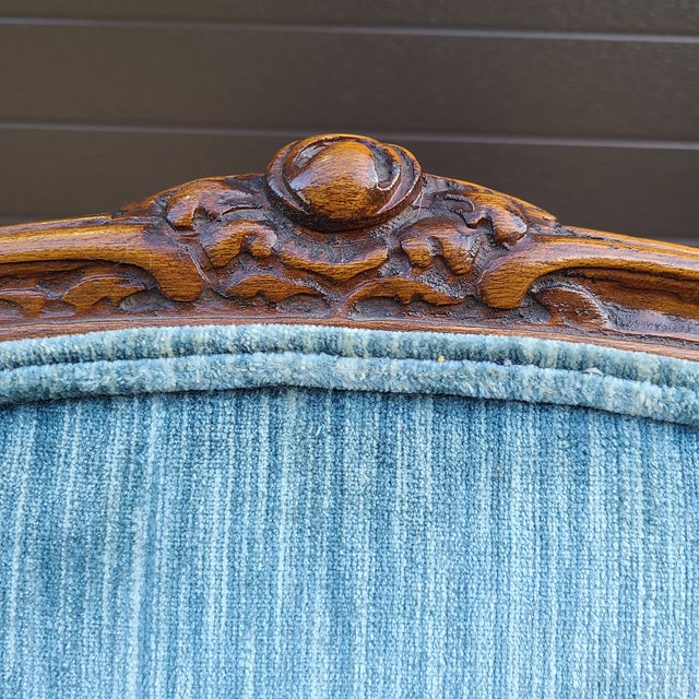 Cerulean Vintage French Provincial Carved Walnut Occasional Chair For Sale - Image 8 of 13