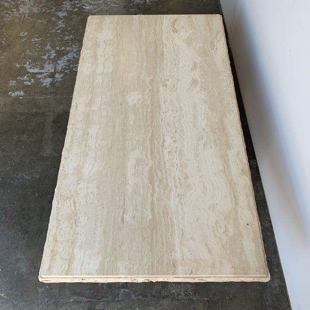 Textured Edge Travertine Coffee Table For Sale In Los Angeles - Image 6 of 13
