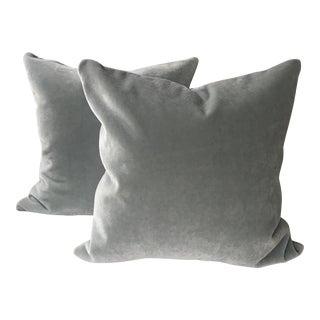 Pale Blue 100% Mohair Pillows - A Pair For Sale