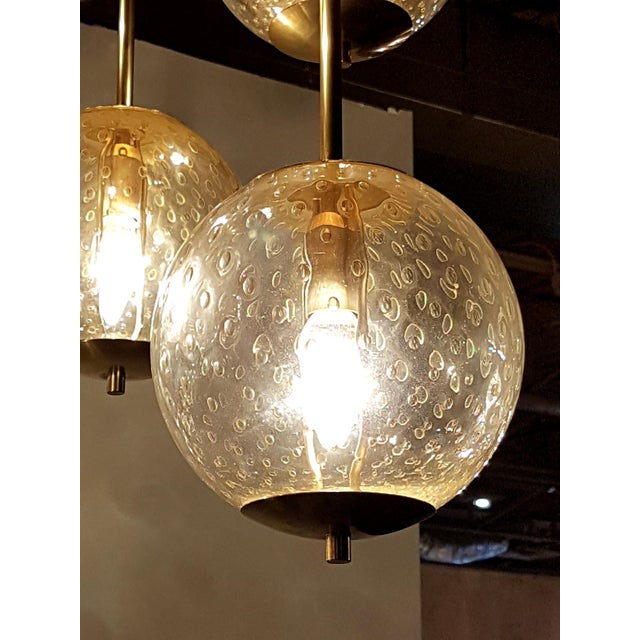 1970s Mid-century modern 6-clear glass globes brass flush mount light, attr to Venini For Sale - Image 5 of 6