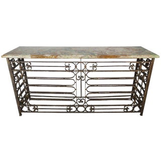 French Art Deco Style Wrought Iron Console With Onyx Top For Sale