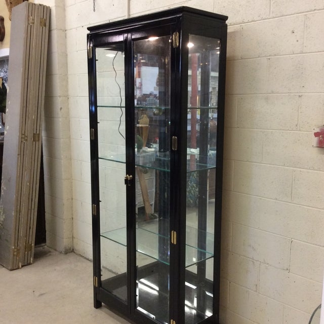 Asian Asian Style Black Lacquer & Mirrored Display Case Lighted For Sale - Image 3 of 10