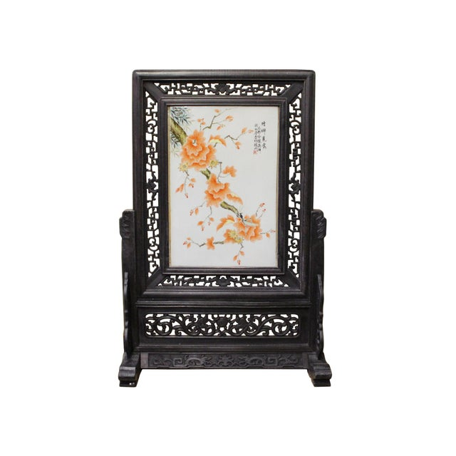 Chinese Wood Frame Porcelain Plaque Table Top Screen Display For Sale - Image 9 of 9